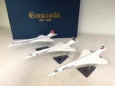 BAe Concorde set of 3 models in 1/250 scale complete with presentation box.