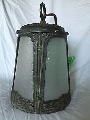 Antique Metal Arts & Crafts Mission Hanging Lamp 4 Glass Frosted Textured Panels