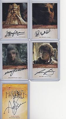 2015 Hobbit Desolation Of Smaug 5 card Autograph Lot Complete Your Sets AWESOME