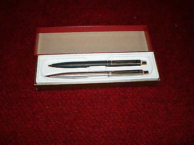 Vintage Schaeffer Pen and Pencil Set with Original Box Satin Black and Silver