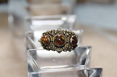 Chinese Export Vintage GOLD on STERLING Chatoyant Quartz Cabochon Ring 8.5 adjus