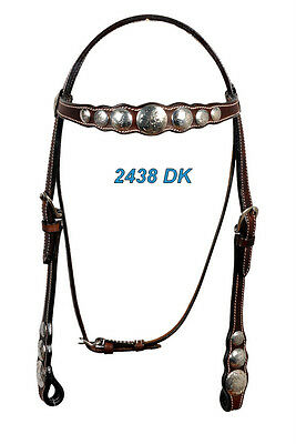 Western Dark Oil Steel Engraved Silver Conchos Headstall With Throat Latch
