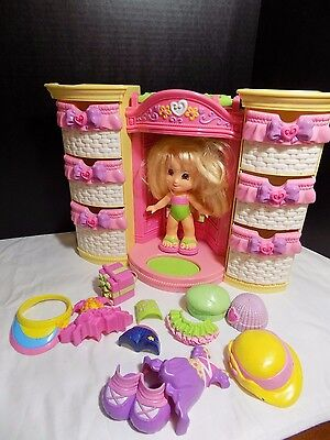 Fisher Price Snap N Style Doll Wardrobe doll and some accessories