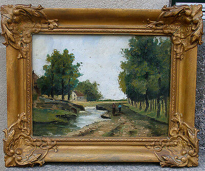 Antique French / Dutch impressionist oil.1880. Signed.
