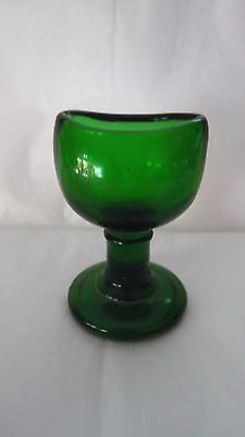 Vintage Wood Brothers Green Glass Pedestal Eye Bath made in England
