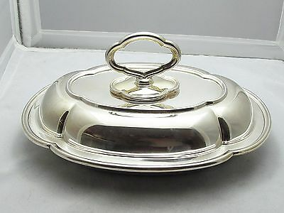 Quality Silver Plated Entree Dish , Lid & Key - Good Condition