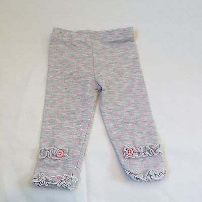 Cute Grey Pink Dots Ruffled Leggings Trousers Baby Girls  0-3 Months Clothes