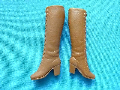 Vintage Barbie Light Brown/tan Lace Up Boots From 1970's
