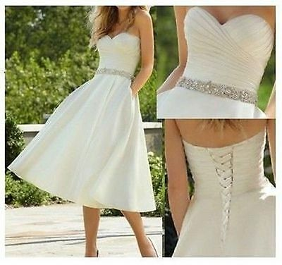 New White/Ivory Short Wedding Dress Bridal Gown stock Size 6-8-10-12-14-16