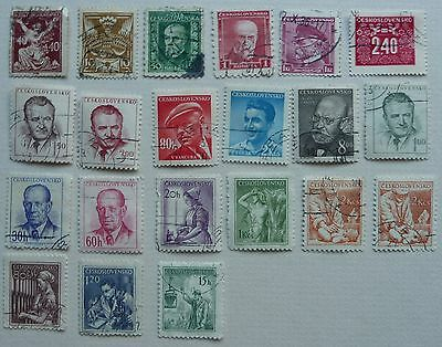 21 stamps of Czechoslovakia, 1920 to 1954. Used.