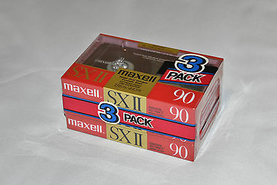 Vintage Maxell SX II 90 Audio Cassette/ Tape 3 Pack (1988) New & Sealed