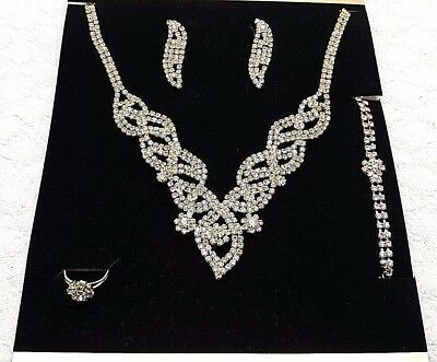 Bridal Wedding Party Prom Jewelry Set Crystal Rhinestone Necklace Ring Earrings.