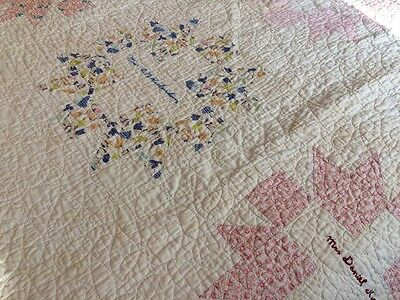 Faded & Worn Vintage 1930's Friendship  Cutter Quilt Homemade