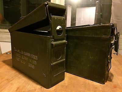 TWO  Military Ammo Carry Cases For Bullet Cartridges- Ammunition Boxes