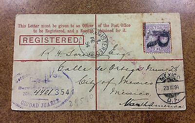 {BJ Stamps} 1894 Victoria  Australia registered cover to Mexico City, Texas Bkst