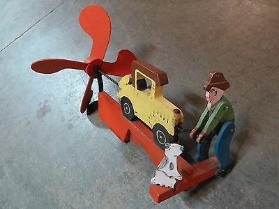 Folk Art Whirligig Man in Hat with Dog Starting a Car Vintage Paint Working