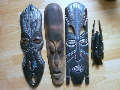 Lot De 4 Masques Africain Decoration Murale African Masks Wall Decoration