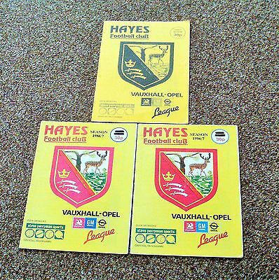 Football Programme- 3 Hayes Non League Programmes From 1986/87