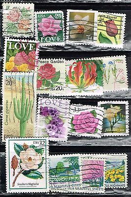 (13-210) 16 Assorted Flower  Cancelled  US  Postal  sTamps