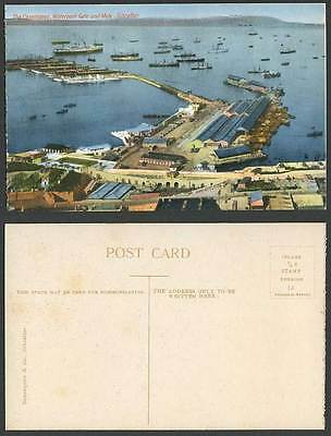 Gibraltar Old Postcard Casemates, Waterport Gate, Mole Pier, Harbour Ships Boats