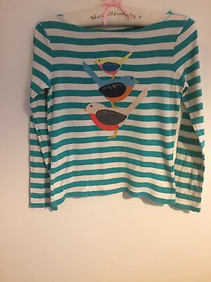 Mini Boden Girl's Applique Striped Top Age 11-12