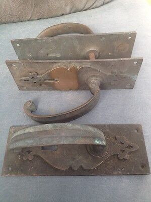 1 Pair And 1 Single Solid Bronze Arts & Crafts Door Handles