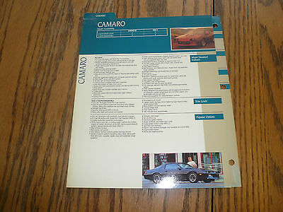 1990 Chevrolet Camaro Facts Pages