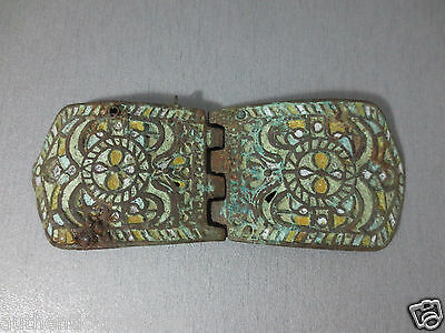 Gorgeous Antique Bronze ENAMEL Buckle late Middle Ages Exremely RARE! RRRR