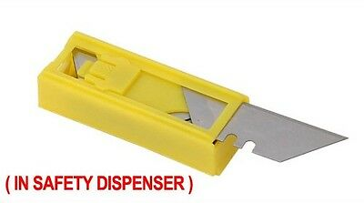 10 Pack Utility Knife Blades In Safety Dispenser Fit Stanley, Fat Max Etc.
