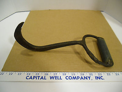 Vintage Wrought Iron Hand Forged Hook with Metal Oval Handle