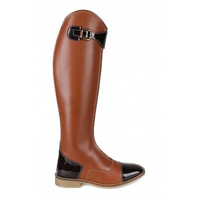 QHP Norah Ladies Long Riding Boots High Quality Black & Brown Luxurious Look