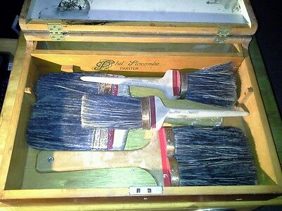 Vintage Wooden Paint Brush Cabinet / Box Belonging to Phil Plocombe - Painter