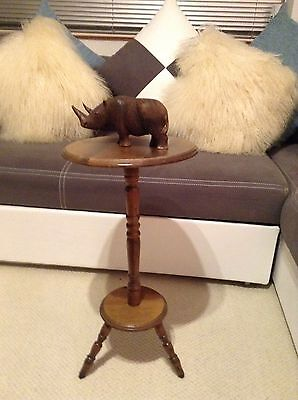 Hand Carved wooden plant stand Complete With Wooden Rhino