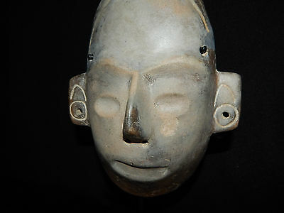 Pre-Columbian Life-Size Colima Death Mask, Shaft Tomb, Archaic, 100% Authentic