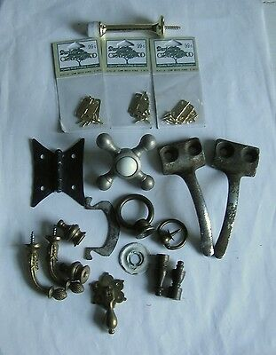 Mixed lot vintage household hardware, lamp finials, tiny hinges, pulls, hooks