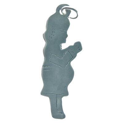 Solid sterling silver PREGNANT WOMAN MILAGRO charm (M-157)