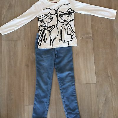 Nutmeg Girls Jeans And Tshirt Outfit Age 7-8 And 8-9