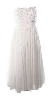 NEW Adrianna Papell White Ivory Womens 12 Tulle Petal Ball-Gown Dress $399- @148