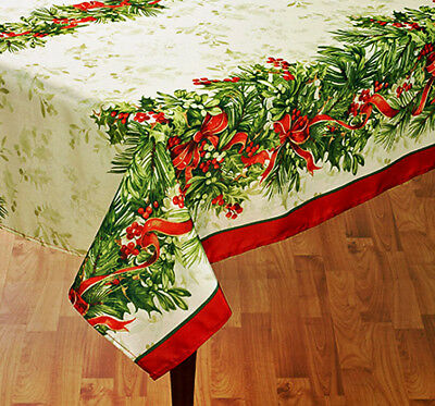 "Vintage Holly & Red Bows Christmas Decor Tablecloth 60""x 84"" OB Ivory Polyester"