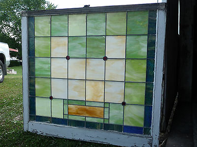 Antique Church Stained Glass Window-C. 1915 Arts & Crafts Architectural Salvage