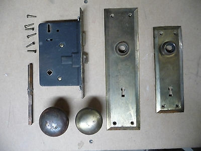 Antique Craftsman Style Door Knobs, Plates & Lockset - Architectural Salvage