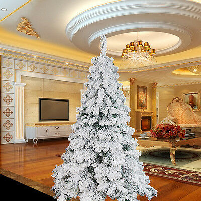 Luxury 1.8m 6ft Flocking White/Green Christmas Tree for Home/Office/Shop UK