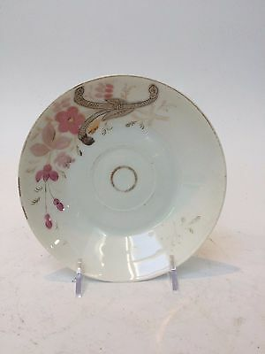 Antique Russian Kuznetsov Porcelain Pink Floral and Gilded Saucer