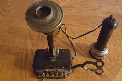 Antique Vintage Early STROMBERG CARLSON Telephone Transmitter & Receiver J626