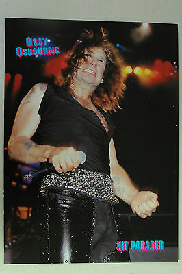 OZZY OSBOURNE Full Page Pinup magazine clipping caught in mid-headbang