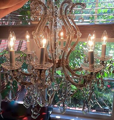 Antique Maria Theresa Crystal Prism 8 Glass Arm Chandelier from Alabama Salvage