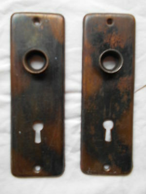 2 Vintage Antique metal Skeleton Key Lock Door Knob Backing plates: copper