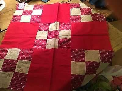 Moprimitivepast  Vintage Red Small Quilt Top Centerpiece Table Christmas Dolls