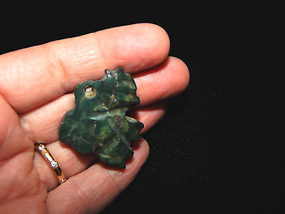 Pre-Columbian Jade Anthropomorphic Pendant with Headdress and Offering Basket