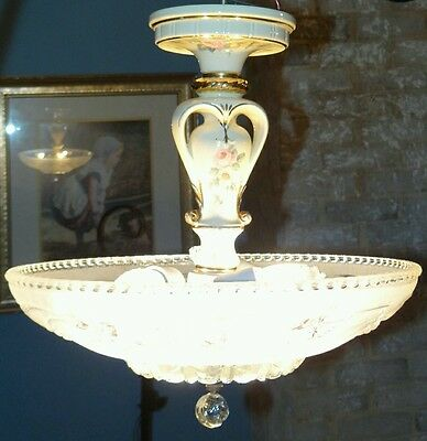 Antique art deco Porcelier porcelain chandelier light fixture